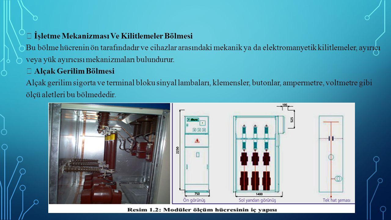  İşletme Mekanizması Ve Kilitlemeler Bölmesi Bu bölme hücrenin ön tarafındadır ve cihazlar arasındaki mekanik ya da elektromanyetik kilitlemeler, ayırıcı veya yük ayırıcısı mekanizmaları bulundurur.