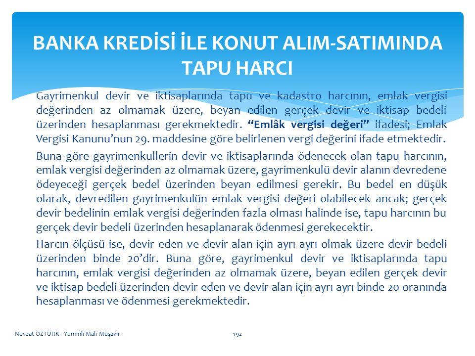 BANKA KREDİSİ İLE KONUT ALIM-SATIMINDA TAPU HARCI