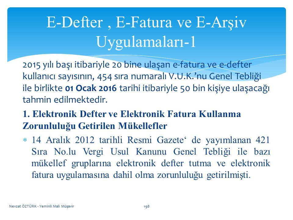E-Defter , E-Fatura ve E-Arşiv Uygulamaları-1