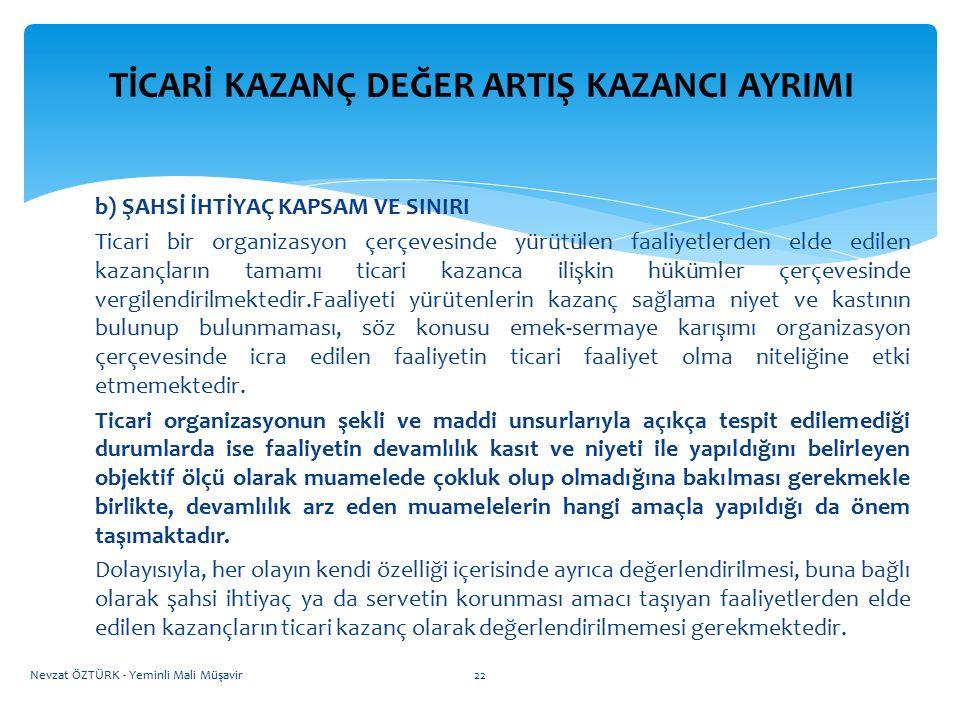 ÖZEL İNŞAATTA TİCARİ KAZANÇ DEĞER ARTIŞ KAZANCI AYRIMI