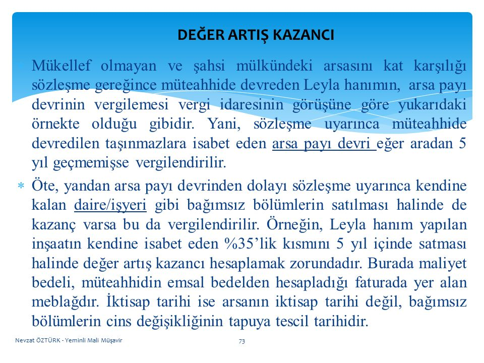 DEĞER ARTIŞ KAZANCI