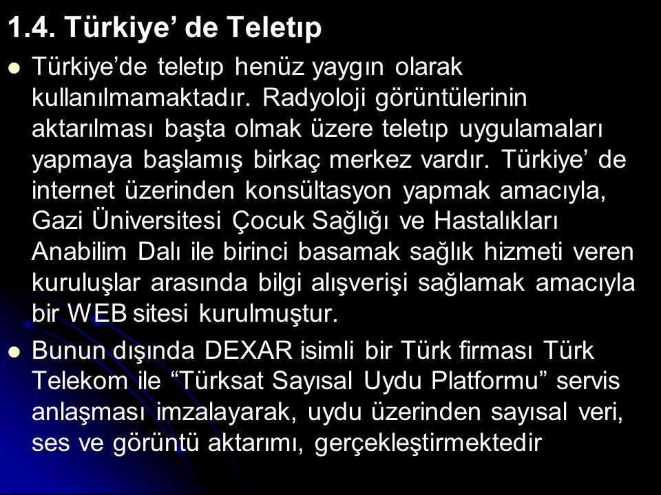 1.4. Türkiye' de Teletıp