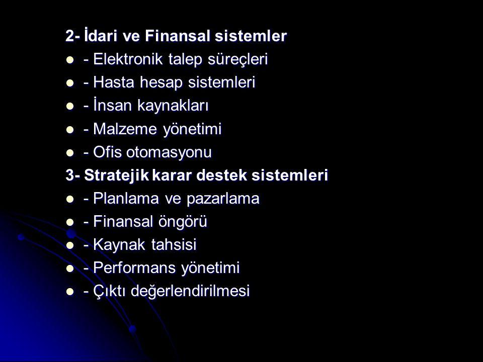 2- İdari ve Finansal sistemler