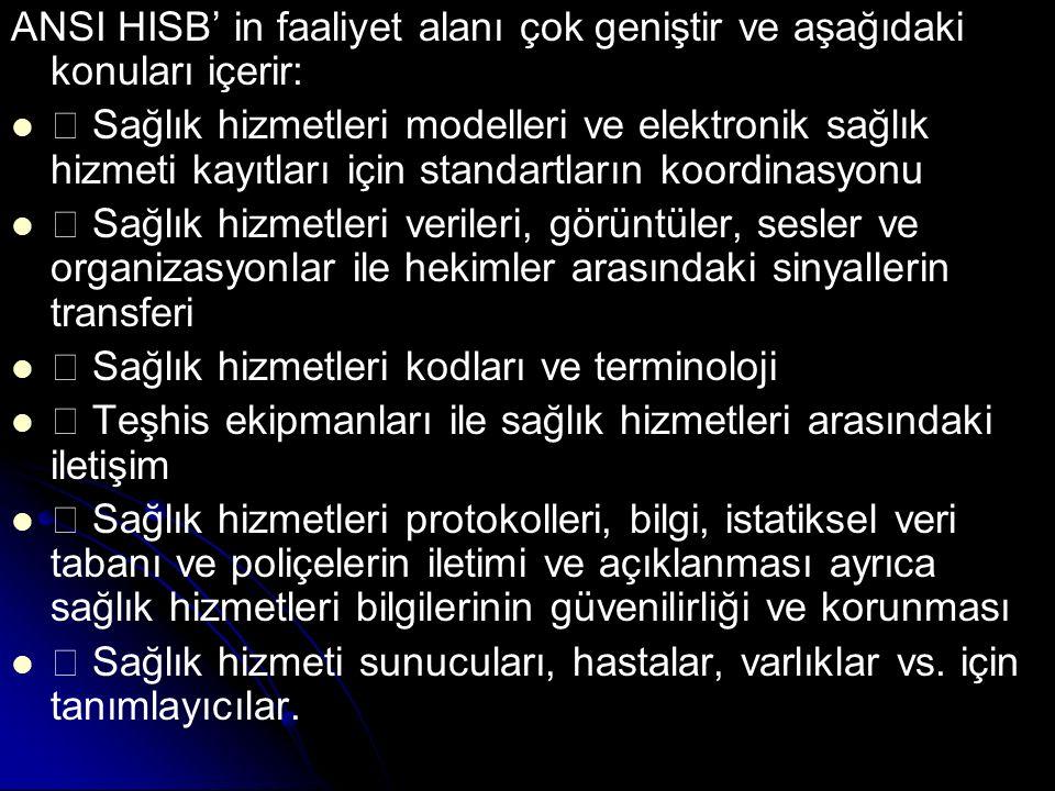 ANSI HISB' in faaliyet alanı çok geniştir ve aşağıdaki konuları içerir: