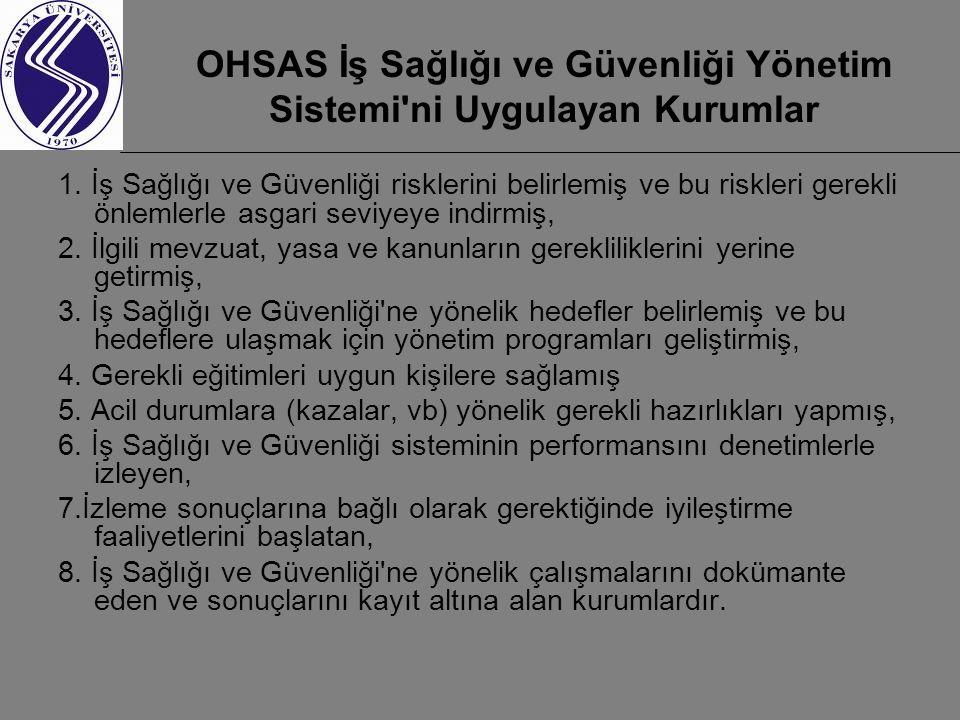 OHSAS İş Sağlığı ve Güvenliği Yönetim Sistemi ni Uygulayan Kurumlar
