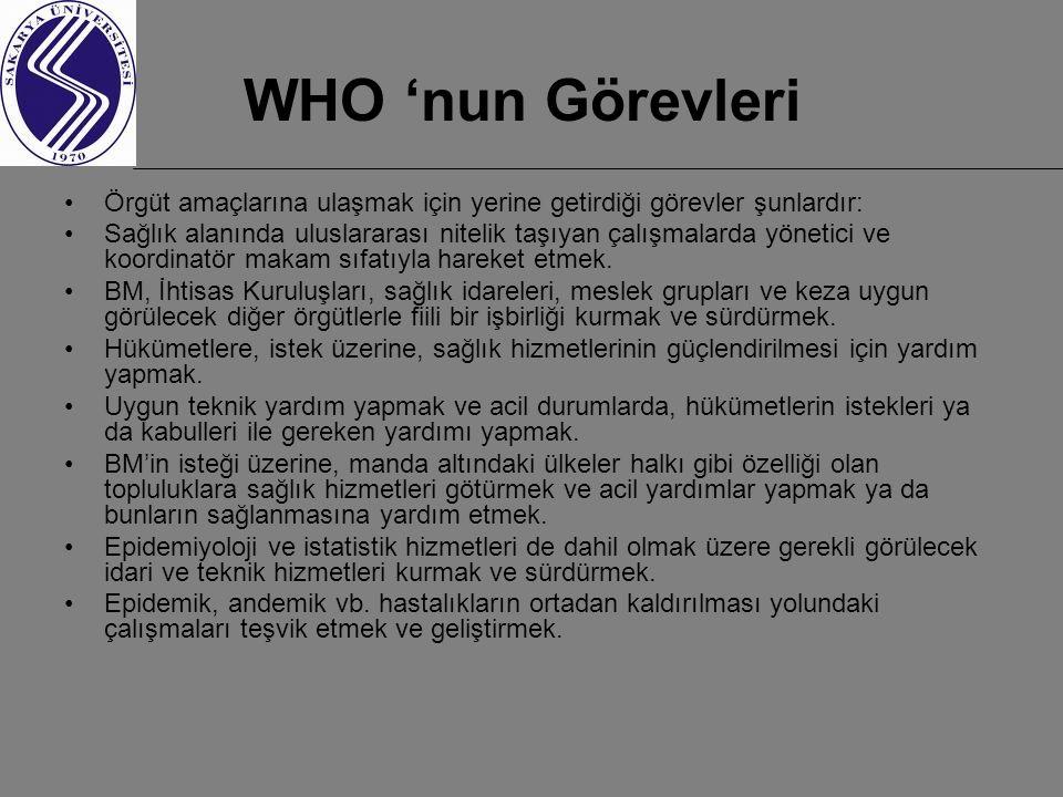 WHO 'nun Görevleri Örgüt amaçlarına ulaşmak için yerine getirdiği görevler şunlardır: