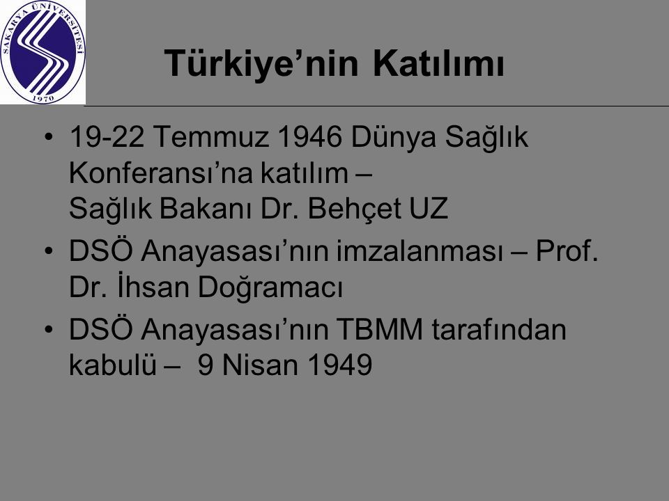 Türkiye'nin Katılımı 19-22 Temmuz 1946 Dünya Sağlık Konferansı'na katılım – Sağlık Bakanı Dr. Behçet UZ.