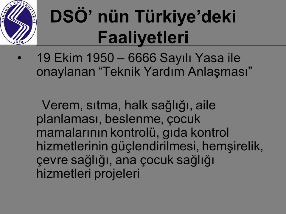 DSÖ' nün Türkiye'deki Faaliyetleri
