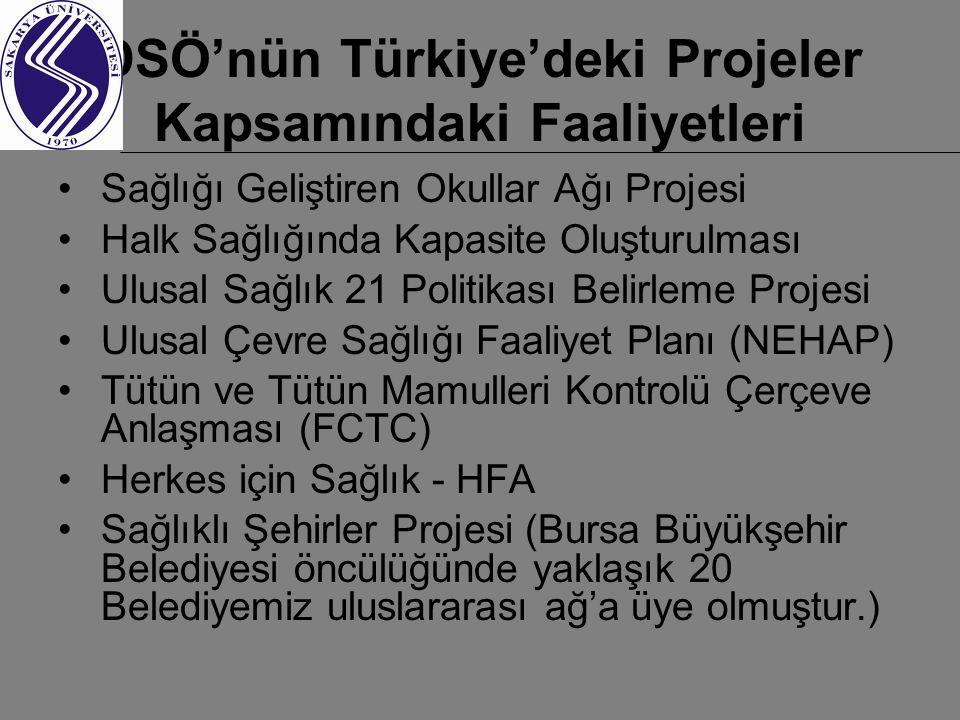 DSÖ'nün Türkiye'deki Projeler Kapsamındaki Faaliyetleri