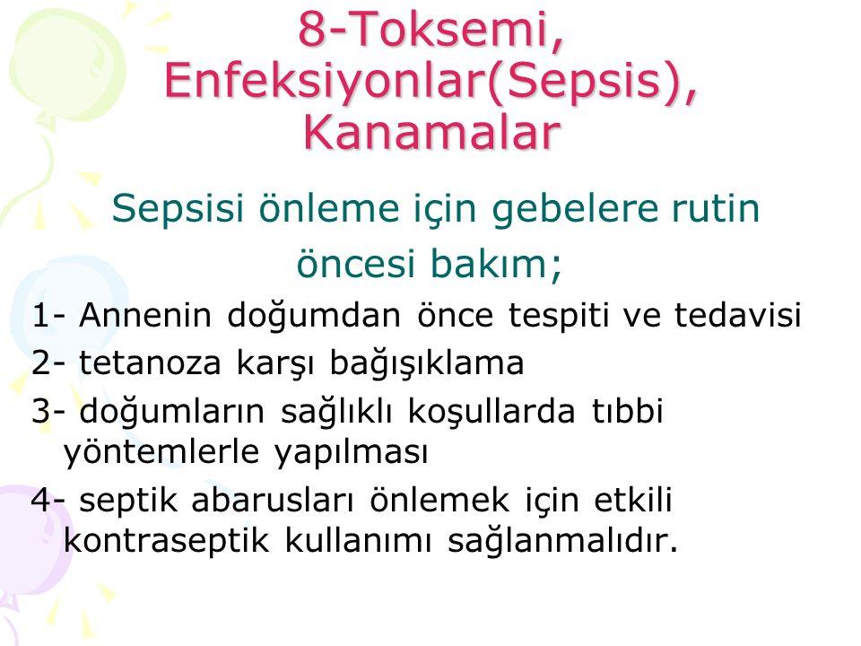 8-Toksemi, Enfeksiyonlar(Sepsis), Kanamalar