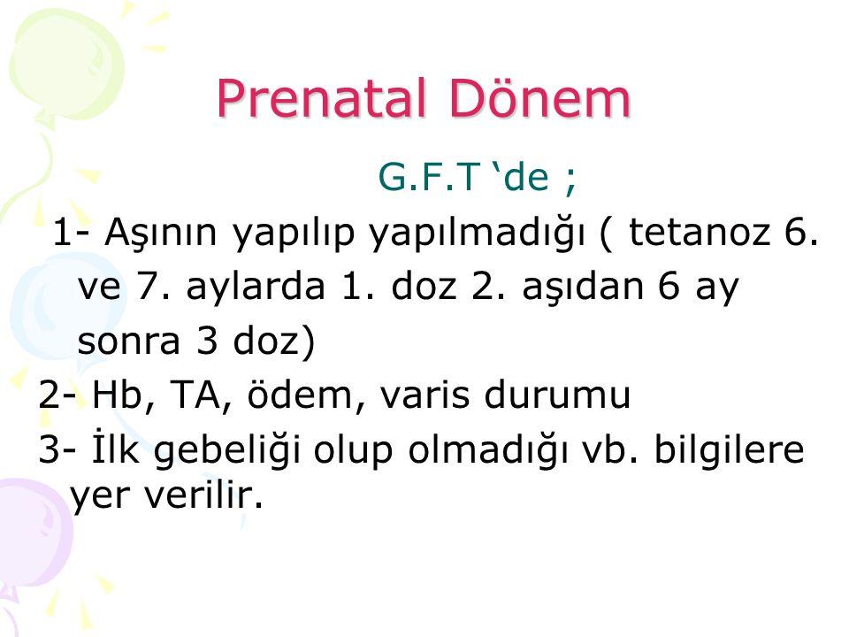 Prenatal Dönem G.F.T 'de ; 1- Aşının yapılıp yapılmadığı ( tetanoz 6.