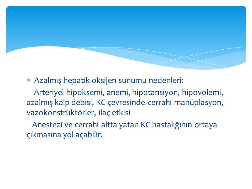 Azalmış hepatik oksijen sunumu nedenleri: