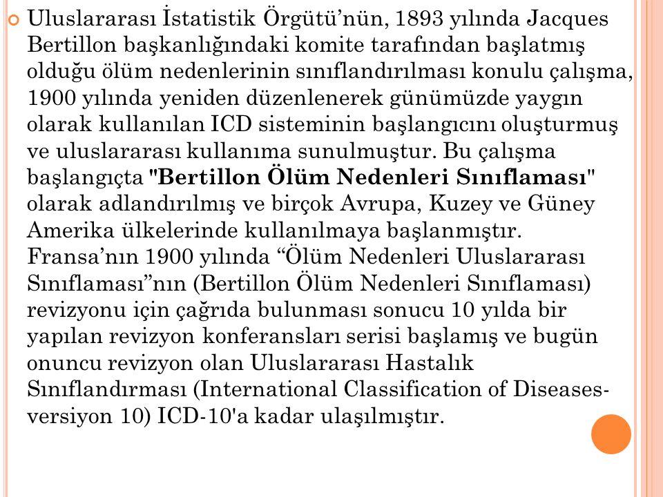 Uluslararası İstatistik Örgütü'nün, 1893 yılında Jacques Bertillon başkanlığındaki komite tarafından başlatmış olduğu ölüm nedenlerinin sınıflandırılması konulu çalışma, 1900 yılında yeniden düzenlenerek günümüzde yaygın olarak kullanılan ICD sisteminin başlangıcını oluşturmuş ve uluslararası kullanıma sunulmuştur.