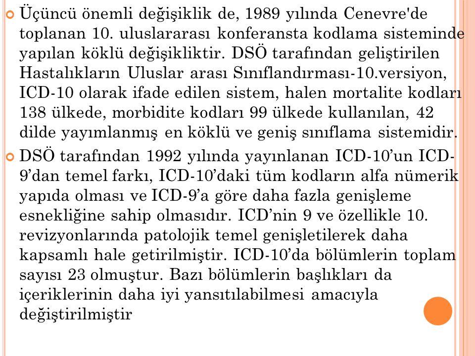 Üçüncü önemli değişiklik de, 1989 yılında Cenevre de toplanan 10