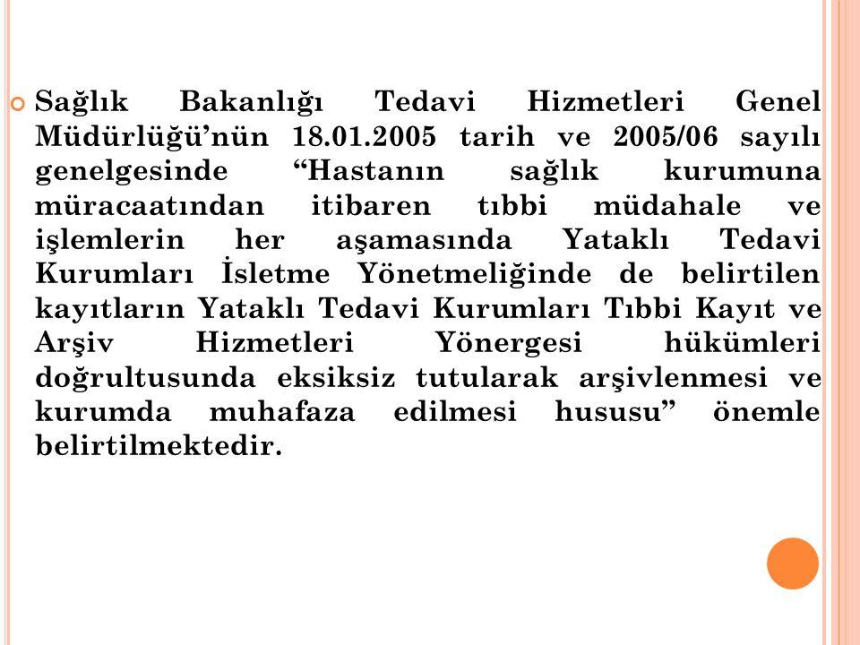 Sağlık Bakanlığı Tedavi Hizmetleri Genel Müdürlüğü'nün 18. 01