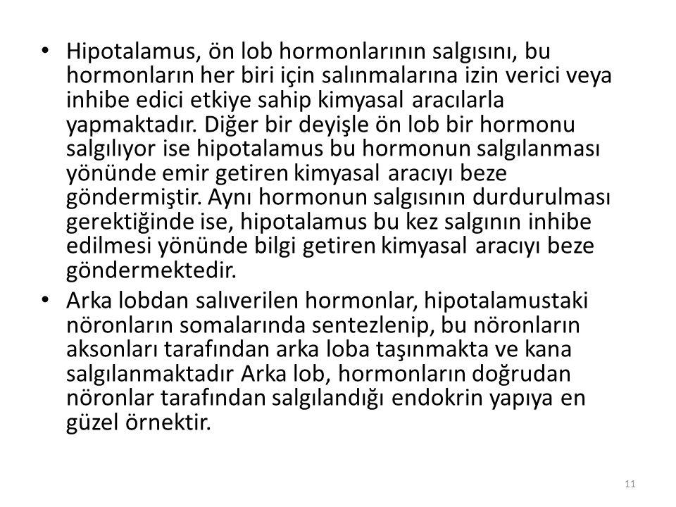 Hipotalamus, ön lob hormonlarının salgısını, bu hormonların her biri için salınmalarına izin verici veya inhibe edici etkiye sahip kimyasal aracılarla yapmaktadır. Diğer bir deyişle ön lob bir hormonu salgılıyor ise hipotalamus bu hormonun salgılanması yönünde emir getiren kimyasal aracıyı beze göndermiştir. Aynı hormonun salgısının durdurulması gerektiğinde ise, hipotalamus bu kez salgının inhibe edilmesi yönünde bilgi getiren kimyasal aracıyı beze göndermektedir.