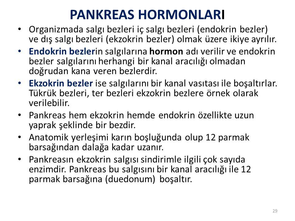 PANKREAS HORMONLARI Organizmada salgı bezleri iç salgı bezleri (endokrin bezler) ve dış salgı bezleri (ekzokrin bezler) olmak üzere ikiye ayrılır.