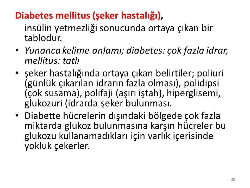 Diabetes mellitus (şeker hastalığı),