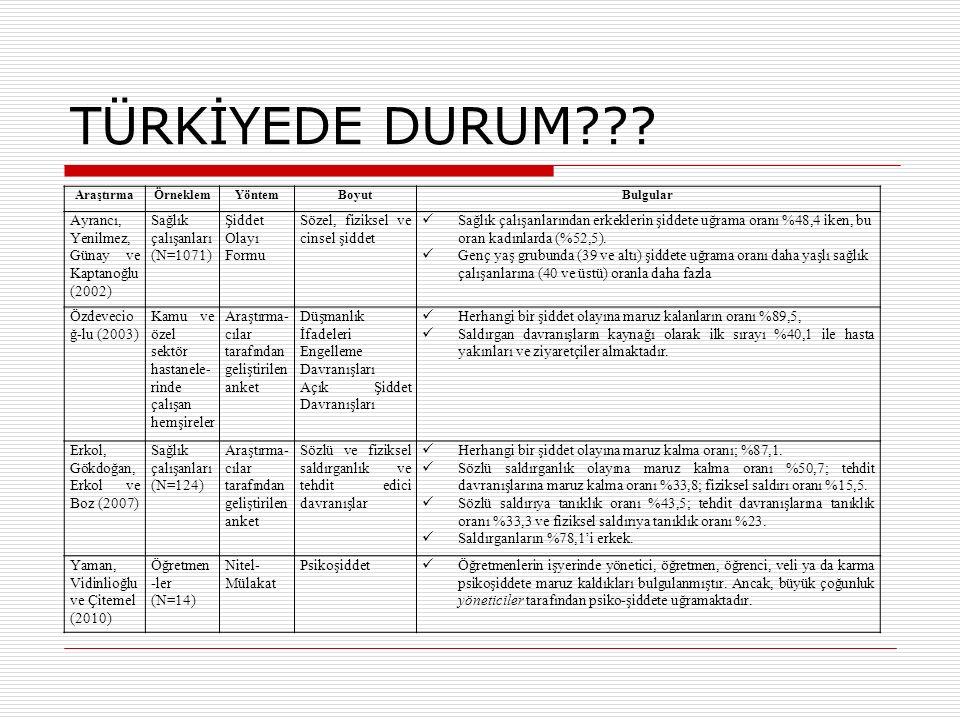 TÜRKİYEDE DURUM Ayrancı, Yenilmez, Günay ve Kaptanoğlu (2002)