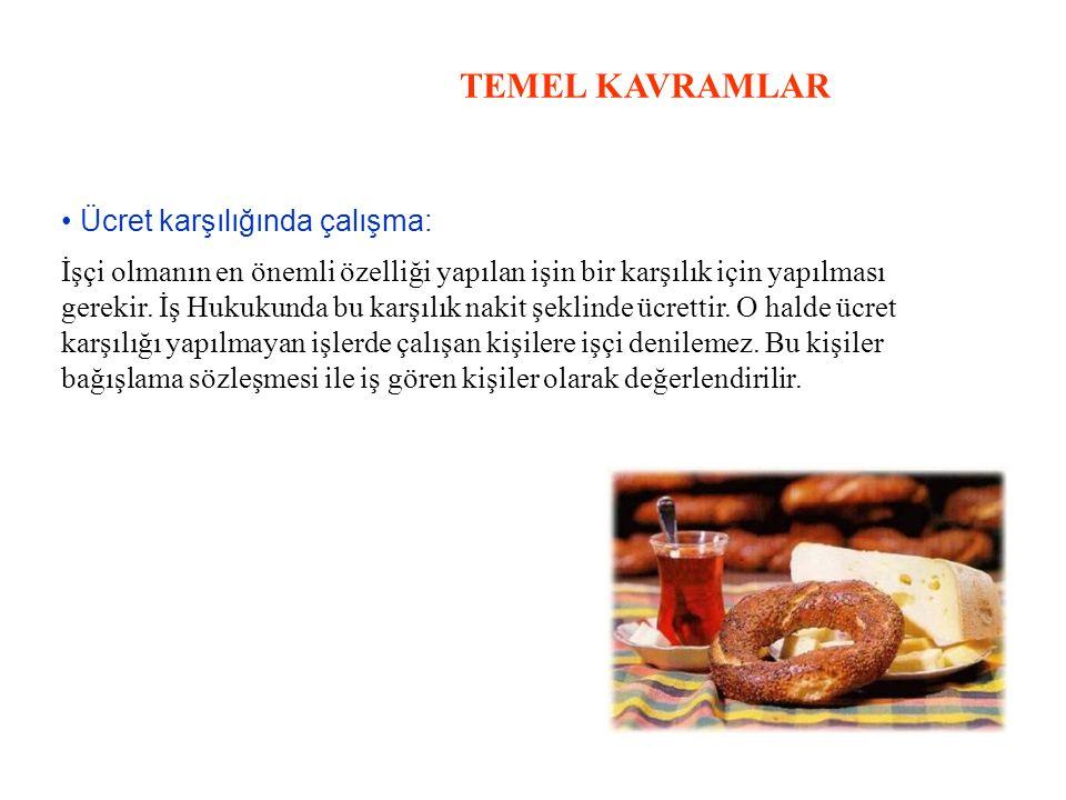 TEMEL KAVRAMLAR • Ücret karşılığında çalışma:
