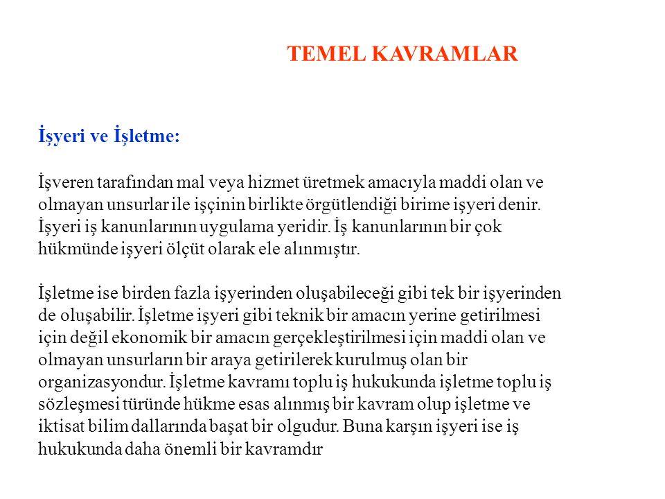 TEMEL KAVRAMLAR İşyeri ve İşletme: