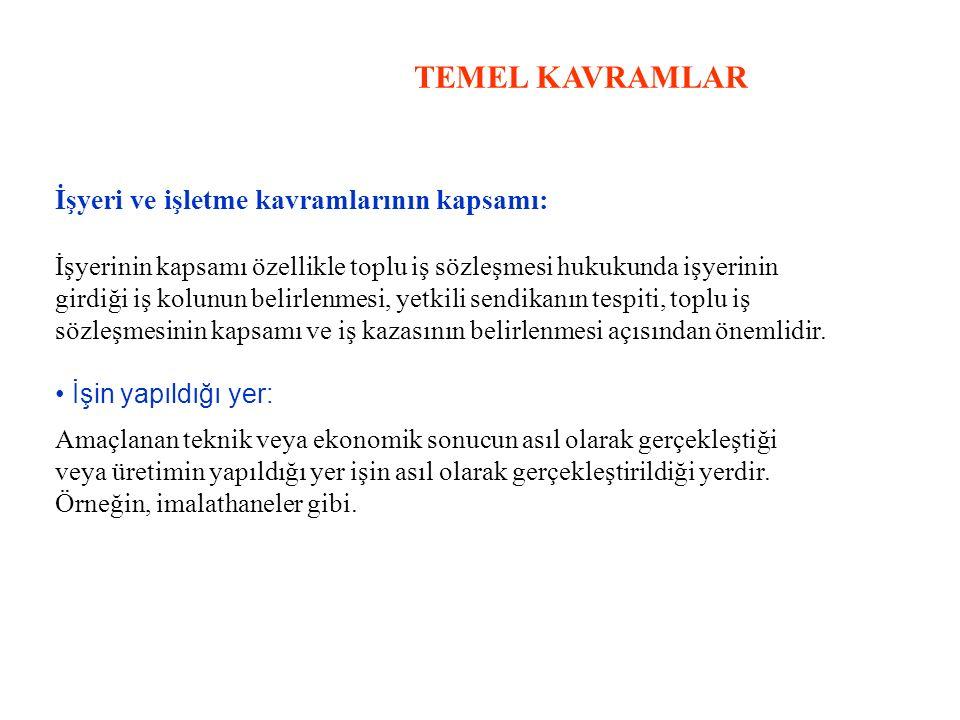TEMEL KAVRAMLAR İşyeri ve işletme kavramlarının kapsamı: