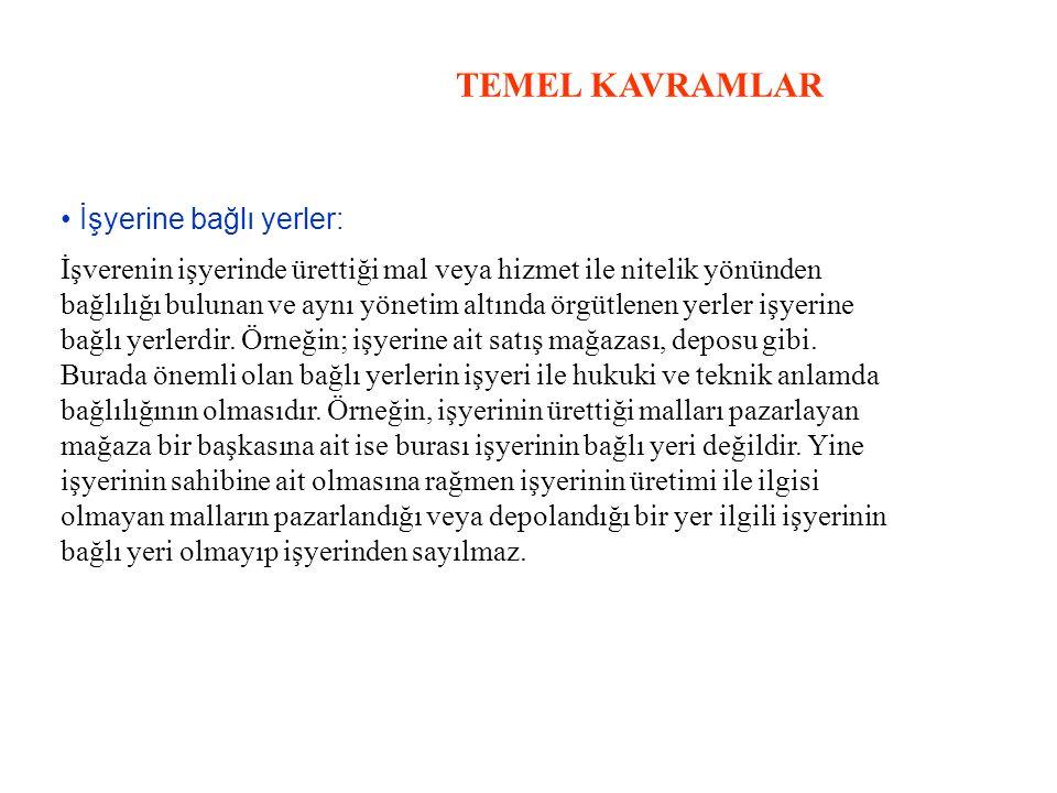 TEMEL KAVRAMLAR • İşyerine bağlı yerler: