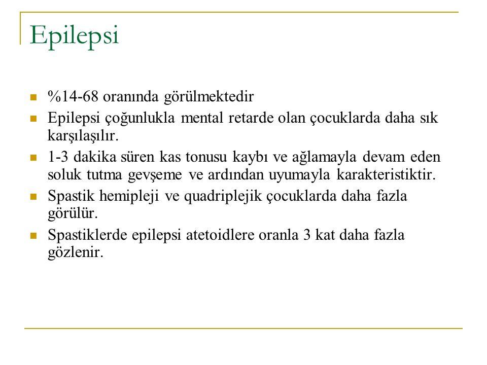 Epilepsi %14-68 oranında görülmektedir
