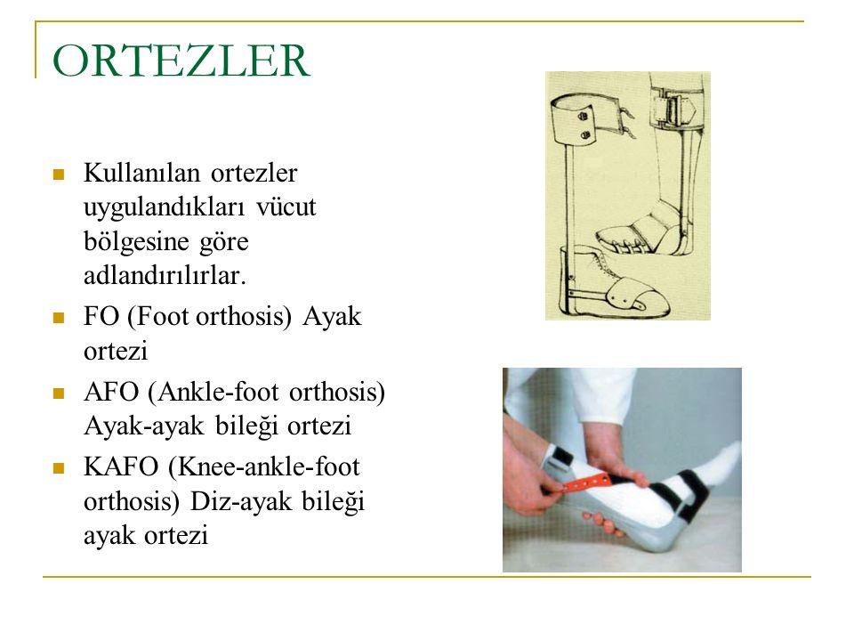 ORTEZLER Kullanılan ortezler uygulandıkları vücut bölgesine göre adlandırılırlar. FO (Foot orthosis) Ayak ortezi.