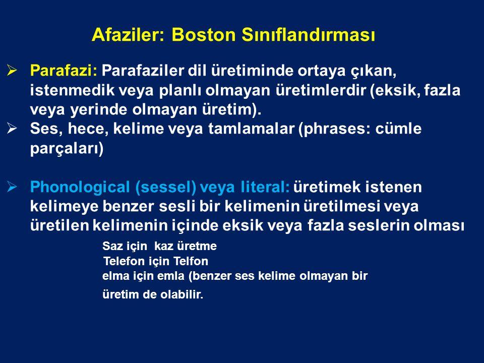 Afaziler: Boston Sınıflandırması