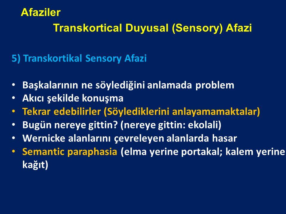 Afaziler Transkortical Duyusal (Sensory) Afazi. 5) Transkortikal Sensory Afazi. Başkalarının ne söylediğini anlamada problem.