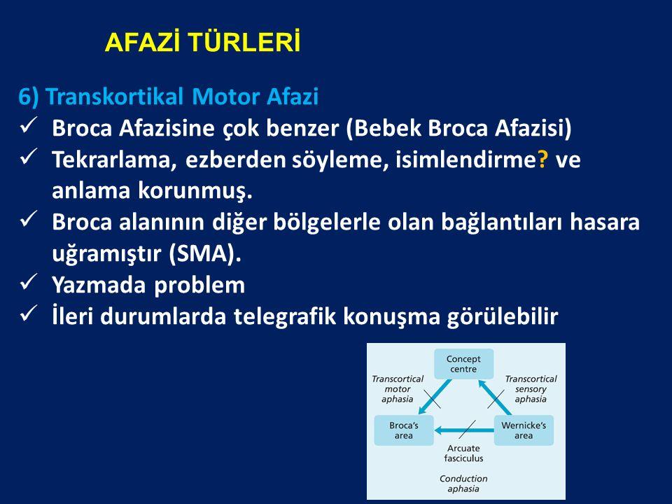 6) Transkortikal Motor Afazi