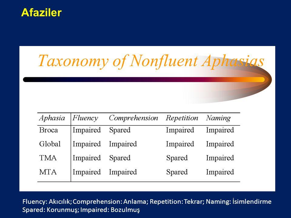 Afaziler Fluency: Akıcılık; Comprehension: Anlama; Repetition: Tekrar; Naming: İsimlendirme.