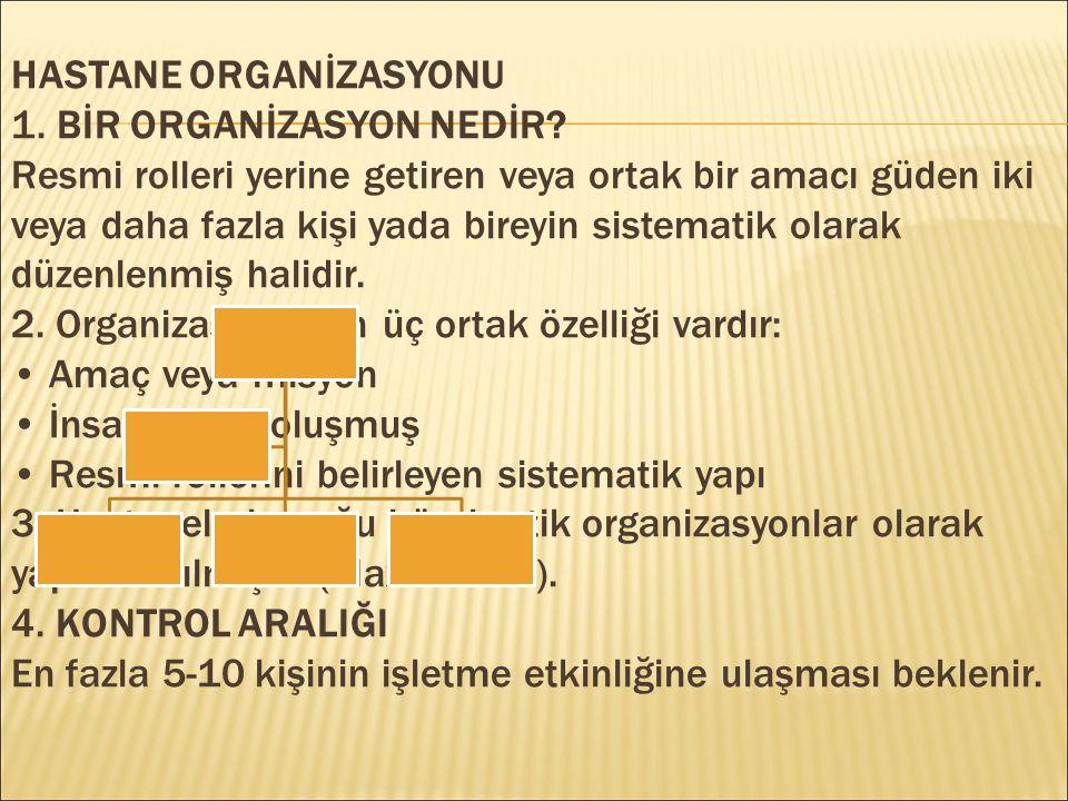 HASTANE ORGANİZASYONU 1. BİR ORGANİZASYON NEDİR