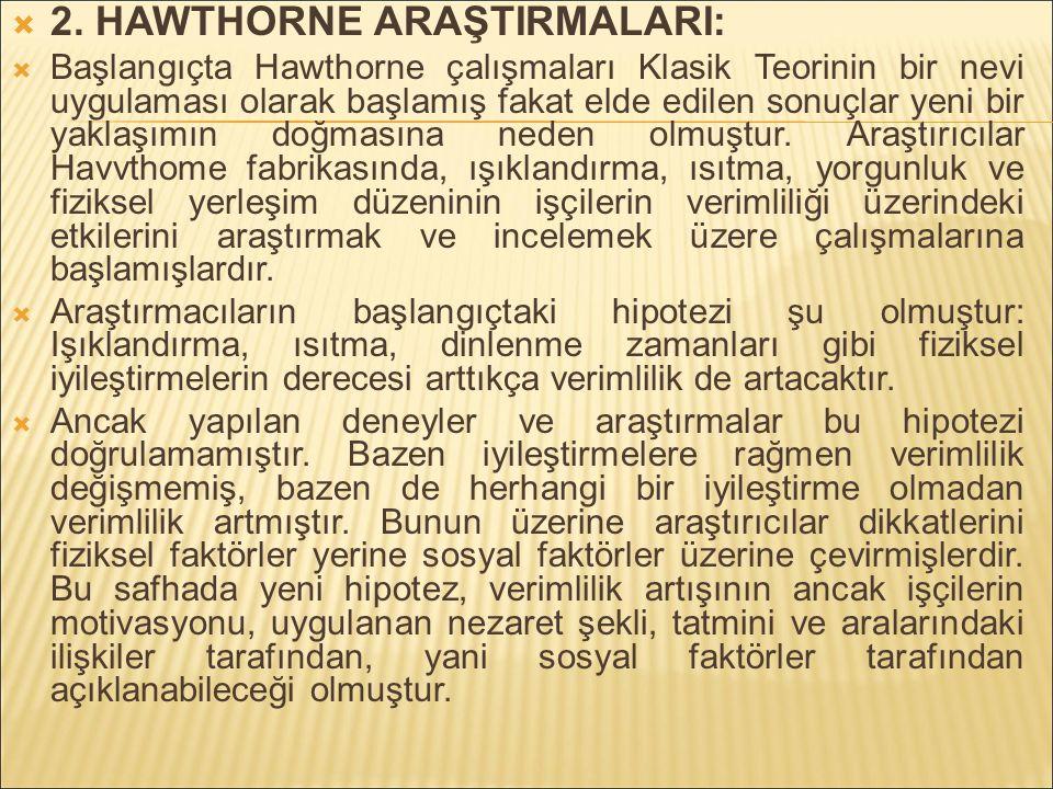 2. HAWTHORNE ARAŞTIRMALARI: