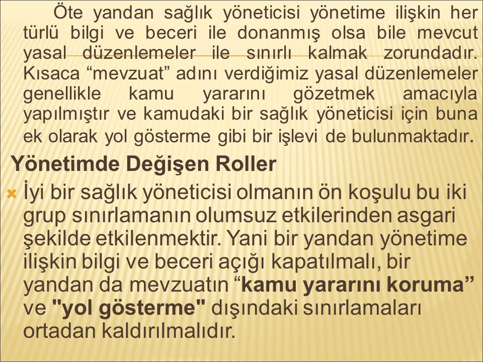 Yönetimde Değişen Roller