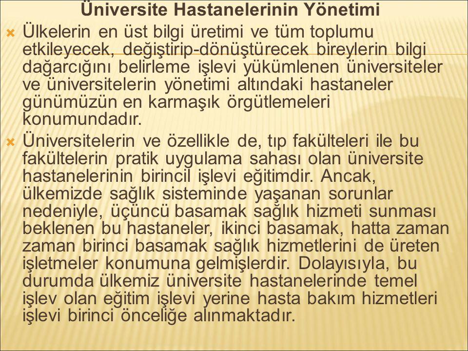 Üniversite Hastanelerinin Yönetimi