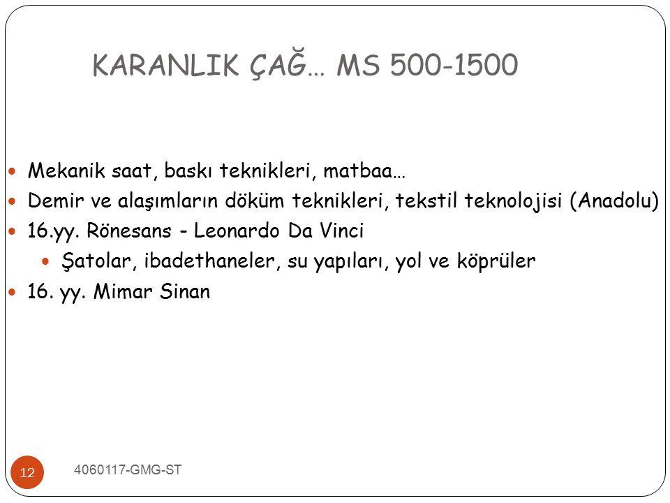 KARANLIK ÇAĞ… MS 500-1500 Mekanik saat, baskı teknikleri, matbaa…