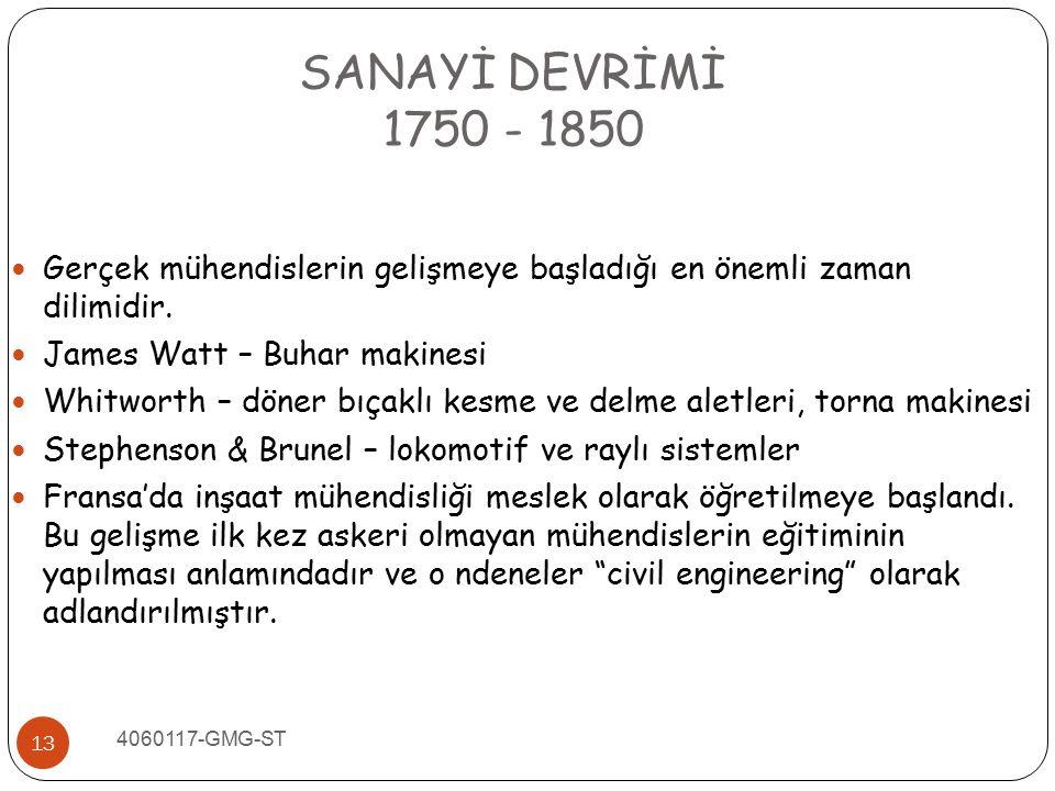 SANAYİ DEVRİMİ 1750 - 1850. Gerçek mühendislerin gelişmeye başladığı en önemli zaman dilimidir. James Watt – Buhar makinesi.