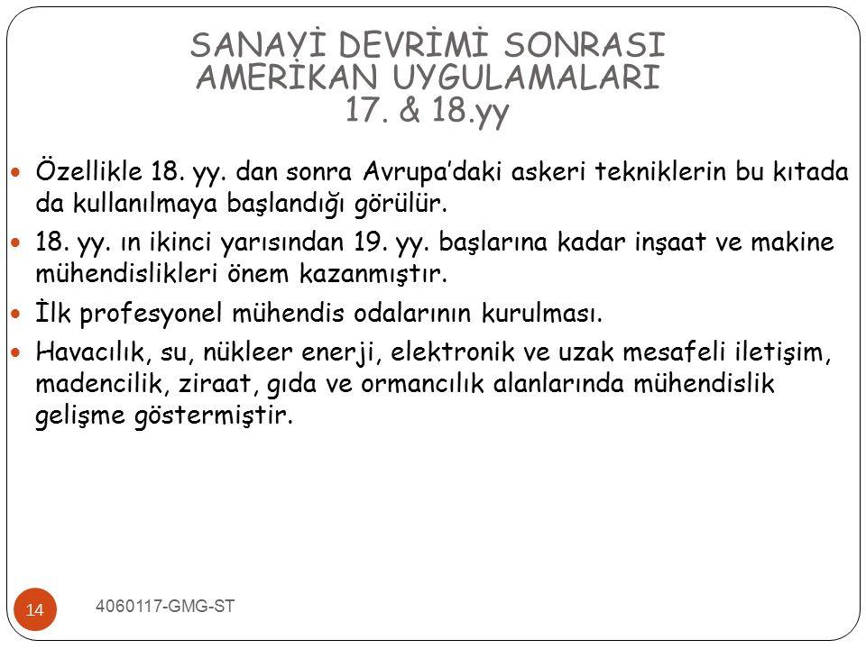 SANAYİ DEVRİMİ SONRASI AMERİKAN UYGULAMALARI 17. & 18.yy