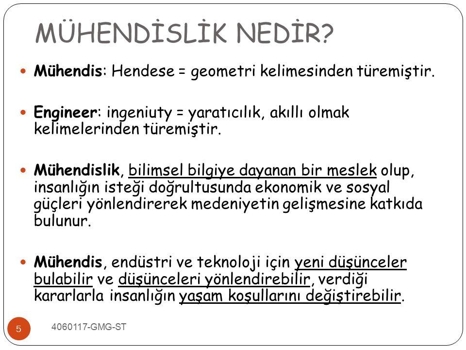 MÜHENDİSLİK NEDİR Mühendis: Hendese = geometri kelimesinden türemiştir. Engineer: ingeniuty = yaratıcılık, akıllı olmak kelimelerinden türemiştir.