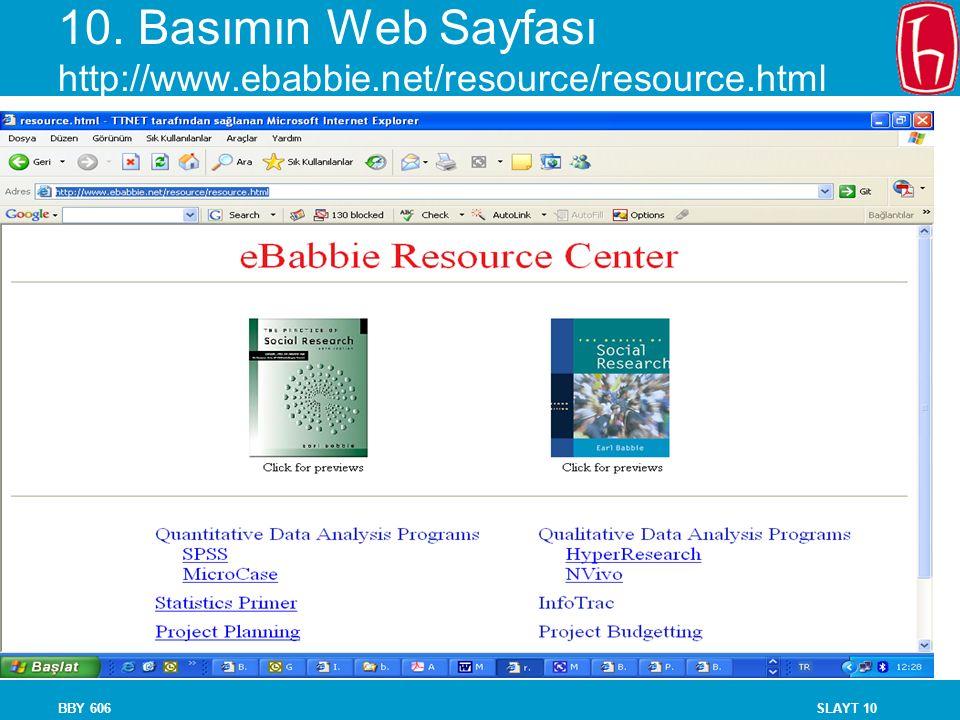 10. Basımın Web Sayfası http://www.ebabbie.net/resource/resource.html