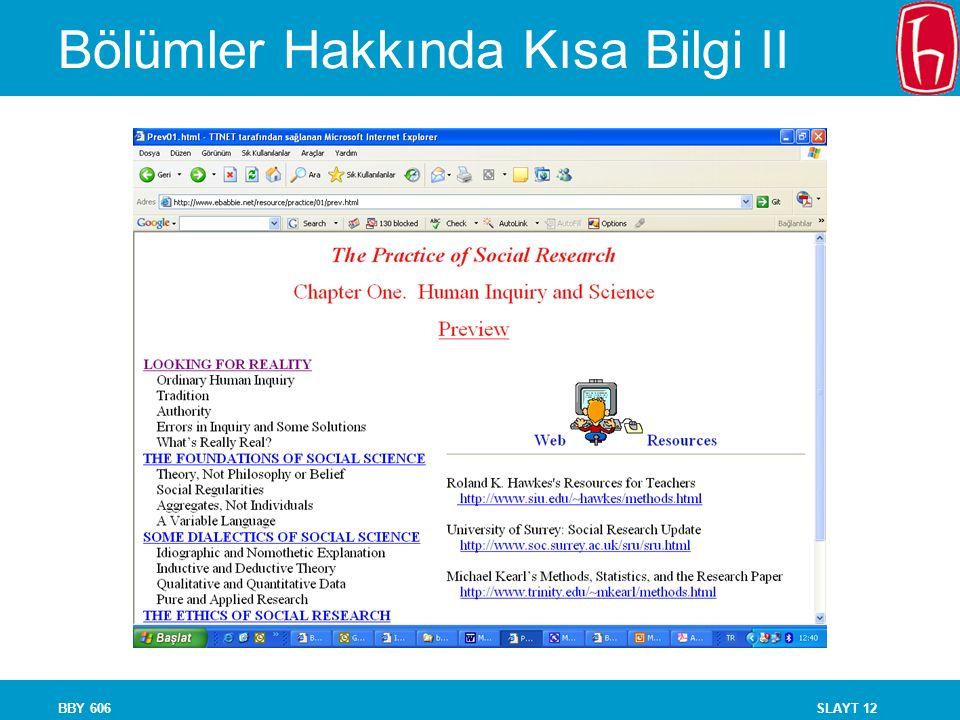 Bölümler Hakkında Kısa Bilgi II