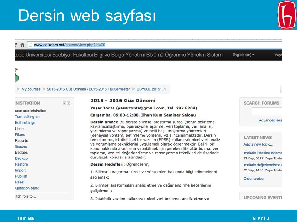 Dersin web sayfası BBY 606