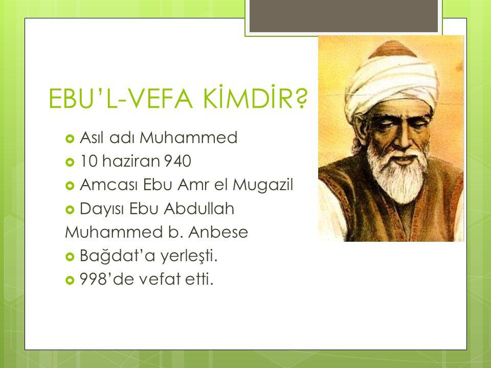 EBU'L-VEFA KİMDİR Asıl adı Muhammed 10 haziran 940