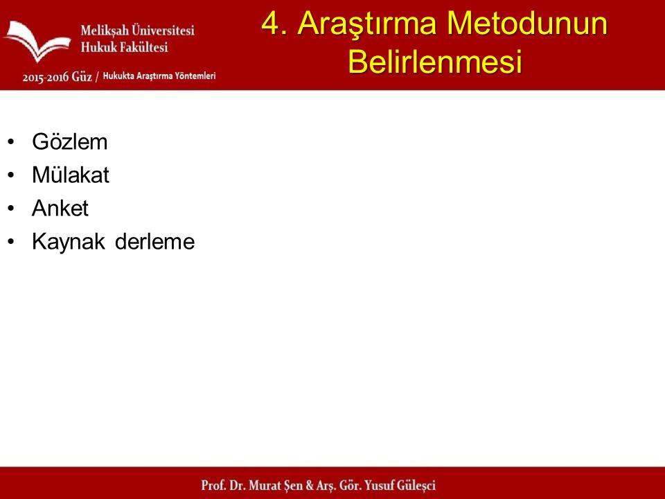 4. Araştırma Metodunun Belirlenmesi