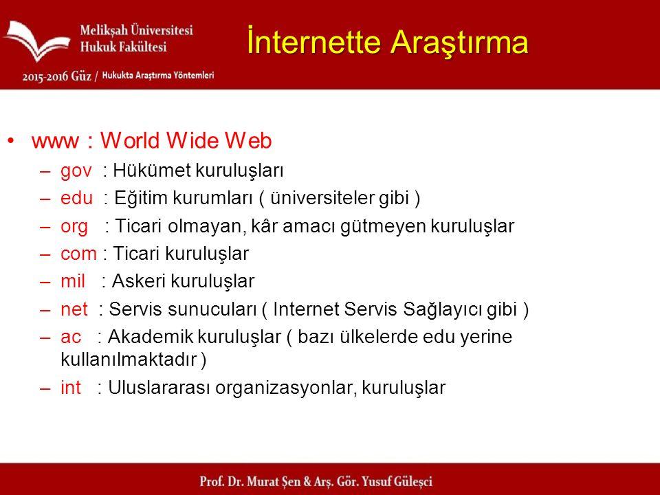 İnternette Araştırma www : World Wide Web gov : Hükümet kuruluşları