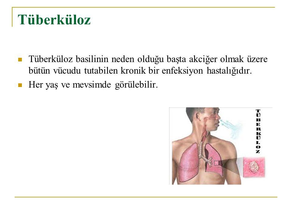 Tüberküloz Tüberküloz basilinin neden olduğu başta akciğer olmak üzere bütün vücudu tutabilen kronik bir enfeksiyon hastalığıdır.