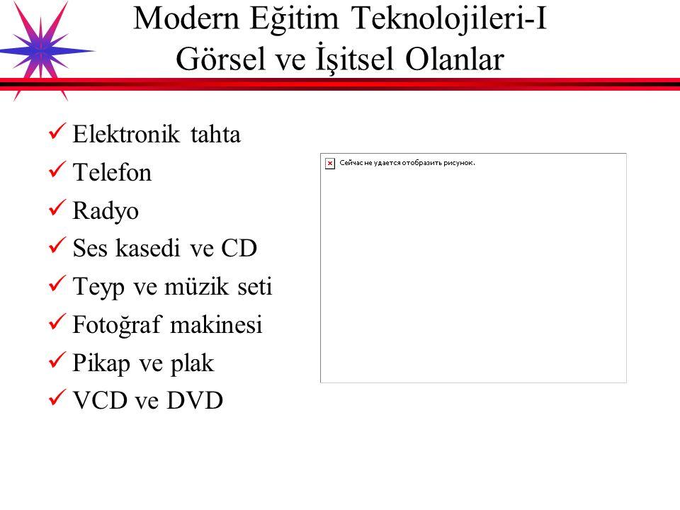 Modern Eğitim Teknolojileri-I Görsel ve İşitsel Olanlar