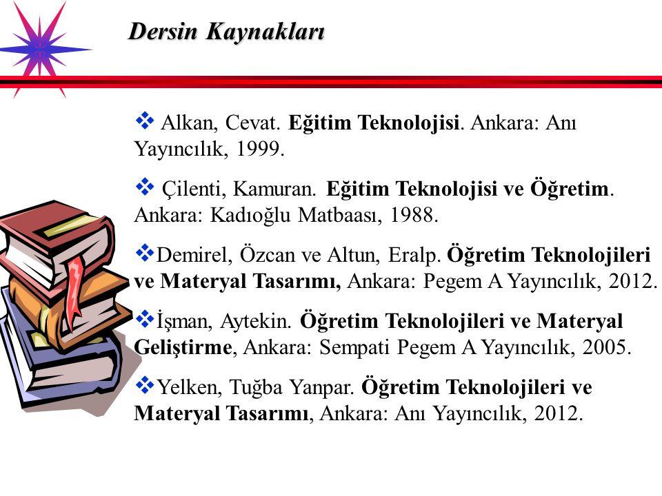 Dersin Kaynakları Alkan, Cevat. Eğitim Teknolojisi. Ankara: Anı Yayıncılık, 1999.